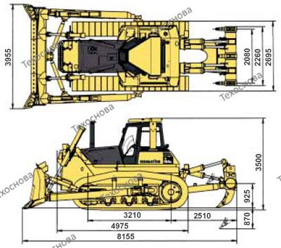 Габариты бульдозера D155A-5